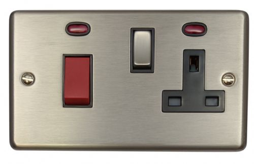G&H CSS329 Standard Plate Brushed Steel 45 Amp DP Cooker Switch & 13A Switched Socket
